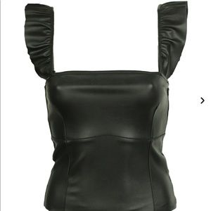 Zara Knit Faux Leather Front Ruffle Strap Tank